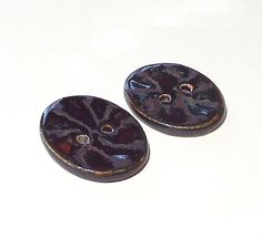 Large Ceramic Oval Buttons 2 Big Brown Patterned by midnightcoiler