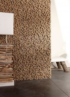 Pixels of Driftwood in Relief wall treatment