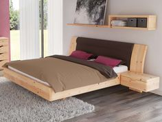 """Bedroom made of solid pine wood with pine bed """"Nadine"""" 180 x 200 cm with . Wood Bed Design, Bed Frame Design, Bedroom Bed Design, Bedroom Built In Wardrobe, Platform Bed Plans, Pine Beds, House Beds, Sofa Furniture, Furniture Movers"""