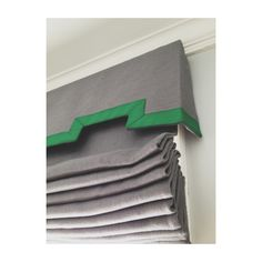 Another roman shade with grey linen and a scalloped valance with green grosgrain detailing. #Padgram
