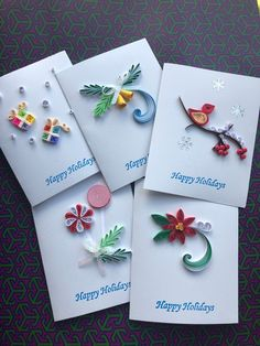 Items similar to Quilled Holiday cards (set of on Etsy Neli Quilling, Paper Quilling Earrings, Paper Quilling Cards, Paper Quilling Flowers, Quilling Work, Paper Quilling Patterns, Origami And Quilling, Quilled Paper Art, Quilled Roses