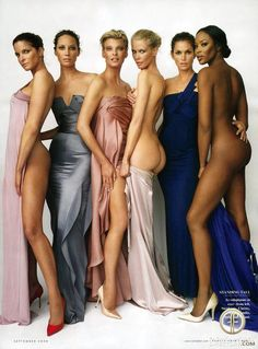The supermodels of the 1990s get together for a photo shoot in 2008: Stephanie Seymour, Christy Turlington, Linda Evangelista, Claudia Schiffer, Cindy Crawford and Naomi Campbell