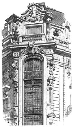 Доходный дом в Париже. Rue Abbeville & Faubourg Poissonnier. Архитектор Georges Massa. The architecture of the second half of the XIX century. Drawings and sketches.