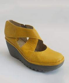 Another great find on #zulily! Yellow Leather Yogo Wedge by FLY London #zulilyfinds