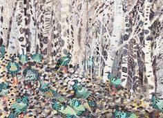 Winter Woods and Wild Turkeys  Archival Print by unitedthread, $40.00