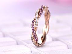 Amethyst Diamond Wedding Band Eternity Infinite Love Ring 14K Rose Gold - 4.75 / 14K Rose Gold