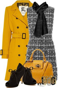 Yellow trench coat polyvore outfit idea