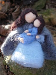 Waldorf Dolls- Needle Felted Dolls- Mother and Daughter Woodland Toys- For Play or Decoration