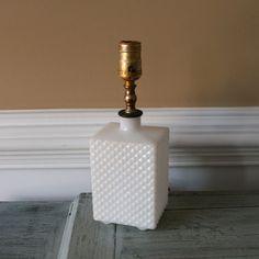 White Milk Glass Boudiour Lamp. Bedside Lamp. Geometric. Minimalist. Classic. Cottage Chic Home Decor. Vestiesteam. tbteam.