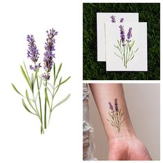 Tattify Purple Flower Temporary Tattoo - Lavish Lavender (Set of 2)