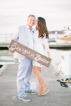"""If you are having a destination wedding, you can surprise your guests with your """"Save the Date"""" by capturing a photo with a sign displaying your location!  #savethedate #destinationwedding #mexico #weddingphoto #weddingplanner #rosepetalevents #wedding  Photo Source: https://www.flickr.com/photos/125349110@N05/16934043465/"""