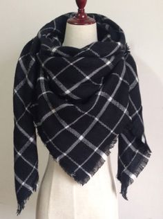 Black and White Plaid Blanket Scarf Fall and Winter Scarves