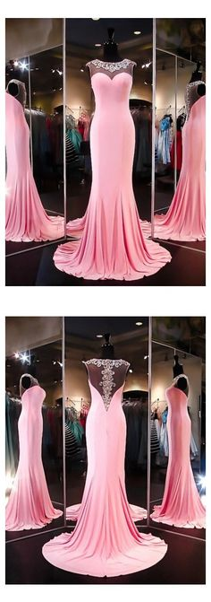 O-Neck Prom Dress,Pink Prom Dresses,Long Evening Dress