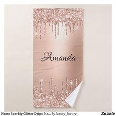 Name Sparkly Glitter Drips Pink Rose Blush Bath Towel Glitter Home Decor, Blush Roses, Bath Towels, Print Design, Prints, Pink Roses
