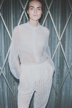 Crochet lace and sheer layers at Joseph SS15 LFW. More images here: http://www.dazeddigital.com/fashion/article/21685/1/joseph-ss15
