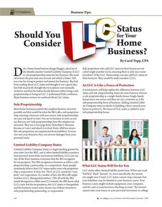 Should You Consider LLC Status for Your Home Business?—By Carol Topp, CPA Molly Green Magazine FREE Online! - Summer 2015 - Page 104