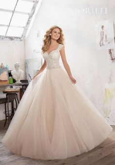 Crystal Beading on Embroidered Appliqués with Diamanté Waistband on Tulle Over Sparkle Net | Morilee by Madeline Gardner Marigold8126 | http://trib.al/V4w4ZaK
