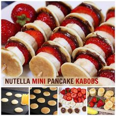 Nutella Mini Pancake Kabobs---cute idea for a slumber party breakfast