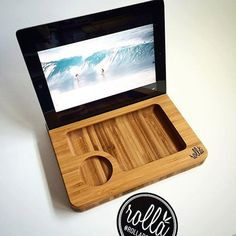 Bamboo Rolling Tray  iPad Dock  Media Sled  SOLO by RollaBoards