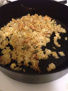 Fried rice   So easy to make. Take left over white rice and sauté in a pan with some soy sauce and chicken. Add an egg to the mixture and mix around as often as possible until all the egg is coagulated