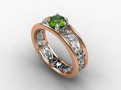 Rose gold and white gold filigree engagement ring with green tourmaline and white sapphires by TorkkeliJewellery, $1680.00