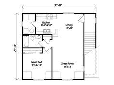 Plan 2402 - Just Garage Plans-- 728 sq. ft small home plus garage or 1 car plus workshop. Garage Loft Apartment, Apartment Floor Plans, Bedroom Floor Plans, Garage Apartments, Small Floor Plans, Cottage Floor Plans, Small House Plans, House Floor Plans, 1 Bedroom House