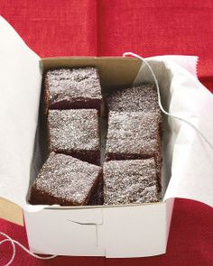 Chocolate Gingerbread Bars - Martha Stewart The familiar deep color and moistness of gingerbread come in large part from molasses, a dark, thick syrup made from sugarcane juice. Gingerbread Bar Recipe, Gingerbread Cookies, Gingerbread Houses, Holiday Treats, Christmas Treats, Holiday Recipes, Holiday Cookies, Christmas Recipes, Holiday Bars