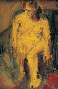 """Frank Auerbach (German-British, ~ """"E.W Nude"""", 1952 ~ Oil on Canvas Frank Auerbach, Painting People, Figure Painting, Painting Art, Watercolor Paintings Abstract, Abstract Art, Abstract Paintings, Oil Paintings, Landscape Paintings"""