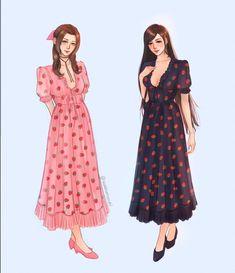 Final Fantasy Girls, Final Fantasy Cloud, Final Fantasy Artwork, Final Fantasy Characters, Fantasy Series, Zack Fair, Strawberry Dress, Cartoon Girl Drawing, Dress Drawing