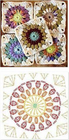 Transcendent Crochet a Solid Granny Square Ideas. Inconceivable Crochet a Solid Granny Square Ideas. Motifs Granny Square, Granny Square Crochet Pattern, Crochet Blocks, Crochet Diagram, Crochet Chart, Crochet Squares, Crochet Blanket Patterns, Crochet Motif, Crochet Flowers