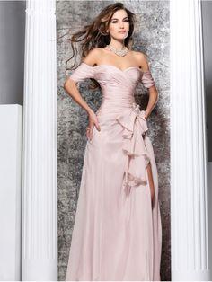 Sheath / Column Off the Shoulder Long Chiffon Prom Evening Formal Dresses 3401002