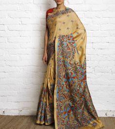 Beige Silk Saree with Kantha Work