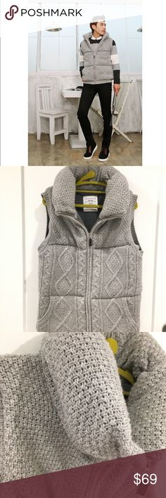 made in Korean fashion padded knitted vest Super cute, knitted outside, padded Fit Size s~m for men Made in Korean Jackets & Coats Vests