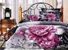 バルキーピンク牡丹ウォシュ4ピースコットン寝具セット
