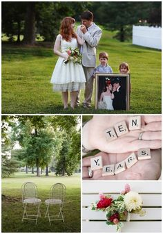 10th Anniversary Vow Renewal...I like the picture of the couple posed the same way as the framed wedding photo that the children are holding up scrabble tiles, wedding photos, renewing vows, vow renewals, ten year, 10 years, anniversary pictures, 10 year anniversary, scrabble letters