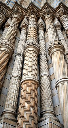 Natural History Museum, London ~ architect Alfred Waterhouse.  Both the interiors & exteriors of the building made extensive use of terracotta tiles to resist the sooty climate of Victorian London, manufactured by the Tamworth-based company of Gibbs & Canning Limited. The tiles & bricks feature many relief sculptures of flora & fauna, with living & extinct species featured within the west & east wings respectively.  . . . .   ღTrish W ~ http://www.pinterest.com/trishw/  . . . .  #myt