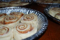Cinnamon Rolls (Ree Drummond, Pioneer Woman)  Watched this episode..she freezes these, takes to others etc. Look great. Will have to try HER recipe.