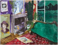 Green Sofa at Night  mixed media on canvas  140 x 180 cm  2016