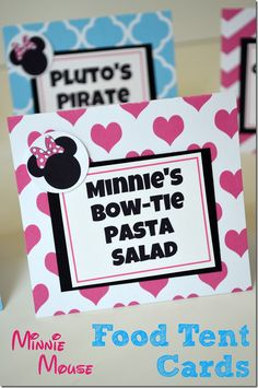 DIY Minnie Mouse Birthday - Food Tent Cards