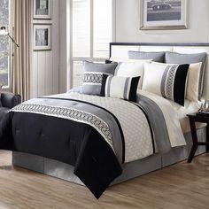 Martine 12-Piece Comforter Set in Black/Grey - Bed Bath & Beyond