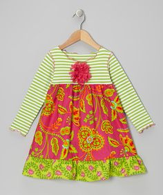 Take a look at this Pink & Green Vine Ruffle Swing Dress - Toddler & Girls by SILLY MILLY on #zulily today!