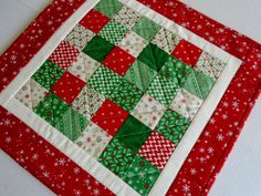 Christmas Quilted Table Topper with by ForgetMeNotQuilteds on Etsy
