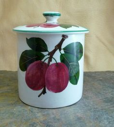 Vintage 1950 Hand Painted Plicta English Pottery Jam or Jelly Jar, Plums Design English Pottery, Jelly Jars, Jam Jar, Marmalade, Pottery Art, Preserves, Pots, Spices, Honey