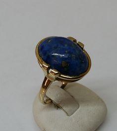 Vintage Ringe - Alter 333er Goldring mit Lapislazuli 19,1 mm GR137 - ein…