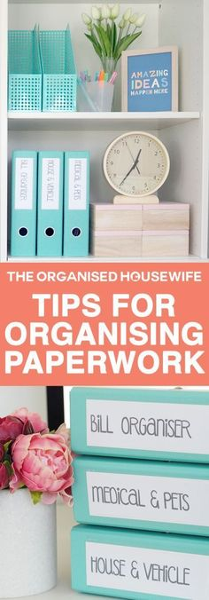 Have a home office? This system for organizing the finances and filing will help a lot in keeping all your bills and other paperwork ordered and tidy. organized at home/getting organized/declutter/decluttering/ Office Organization Tips, Organizing Paperwork, Paper Organization, Organizing Your Home, Organising Tips, Office Storage, Filing Cabinet Organization, Organizing Ideas, Organizing Small Office Space