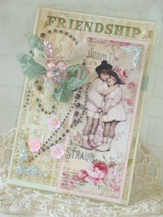 Shabby Chic Friendship Embellished Handmade by RossettiPaperie, $7.25