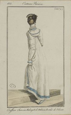 Costume Parisien 1812 - Coiffure Chinoise, Redingote de Merios, Bordee de Velours: I want a Regency hoodie...