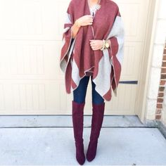 Check out our New Capes! Our Burgundy Stripe Cape is perfect for throwing over your winter sweater dress or paired with skinnies and boots. Our Burgundy Stripe Cape is so soft and can be worn open or