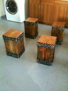 Forged steel and heavy timber stools
