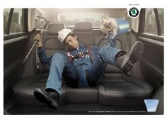 "Affiche / 2010  Skoda Superb Combi   ""toit panoramique""    => le laveur de carreau"